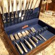 SILVERWARE SET WITH WOODEN CASE.