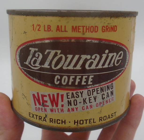 VINTAGE 1950's LA TOURAINE COFFEE (1/2 LB.) TIN - BOSTON, MASS.