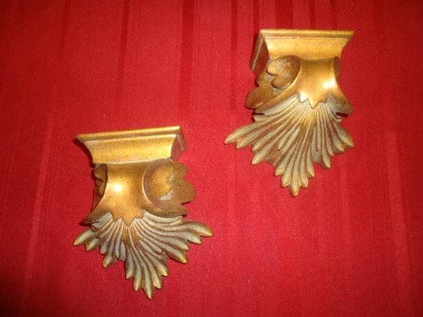 Pair - Vintage Hollywood Regency Gold Wall Shelf Sconces