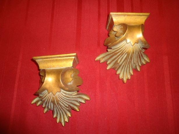 Vintage Hollywood Regency Gold Wall Shelf Sconces SOLD