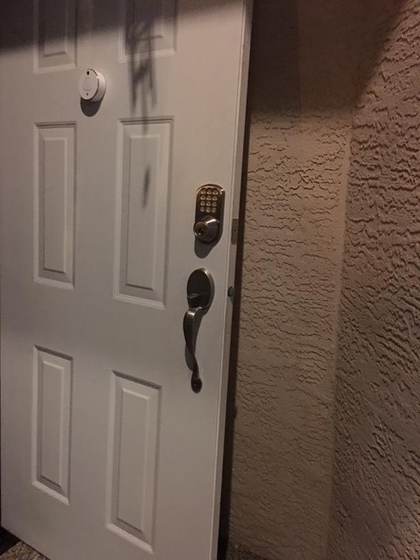 Steel entrance door, wifi camera doorbell, keypad lock, and entrance door handle