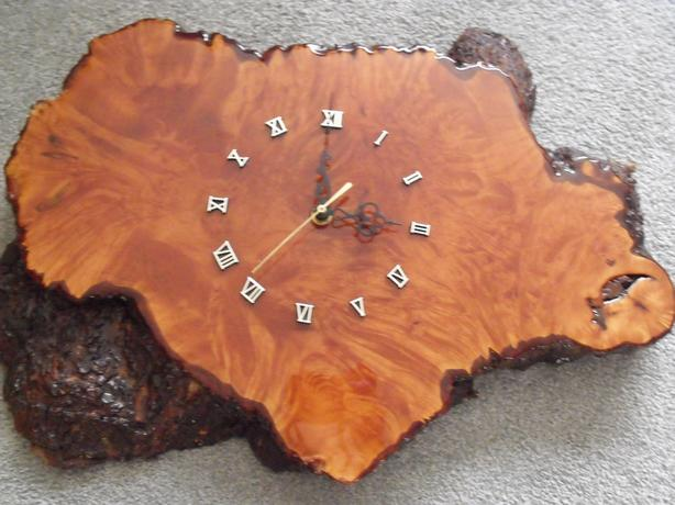 Mid century modern clock !  Live Edge.