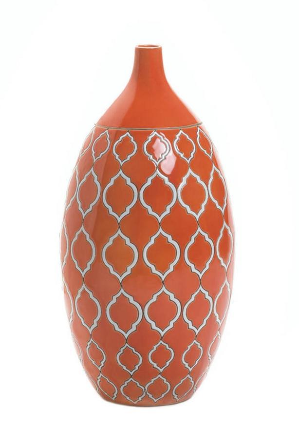 Orange Stoneware Vase Brand New
