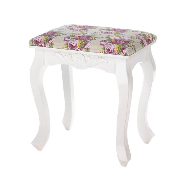 Small White Wood Footstool Bench Seat with Pink Floral Fabric Top Set of 2