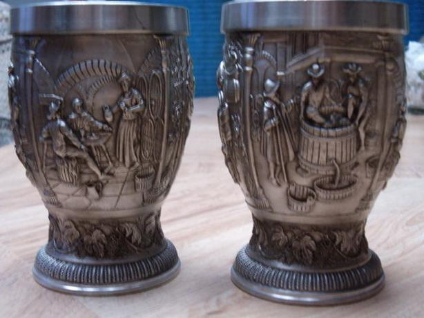 goblets metal handcrafted engrave pattern .