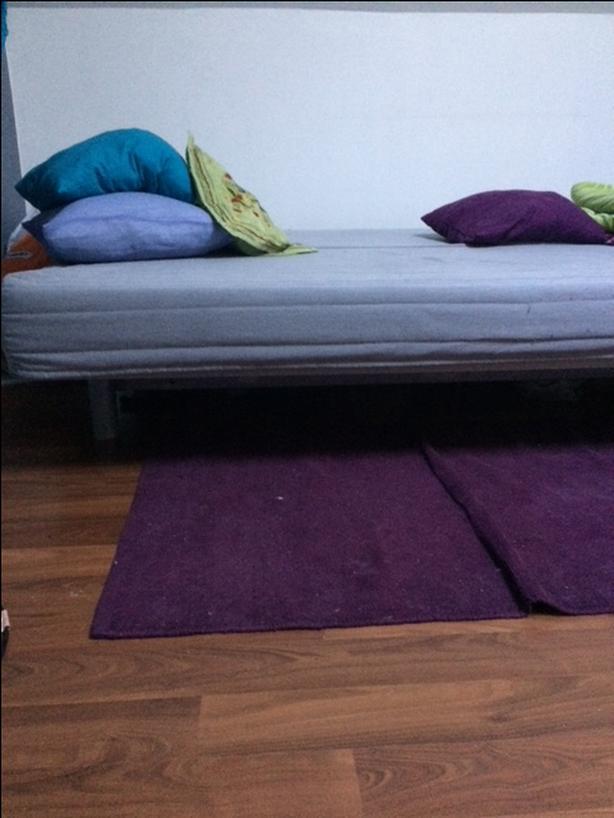 IKEA futon w/ side storage (light grey)