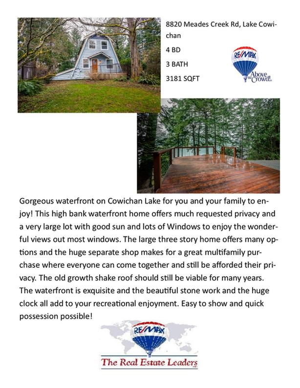 Lakefront property! 8820 Meades Creek Road, Lake Cowichan