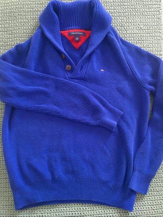 d5f0d8834375 BLUE TOMMY HILFIGER ADLER SHAWL COLLAR SWEATER Victoria City