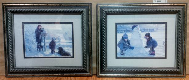 2 Small Framed Prints - Children Playing Winter Scene, only $5!