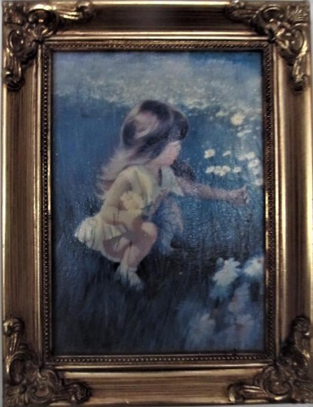 'DAISY DAYS' CANVAS PAINTING IN BRASS FRAME