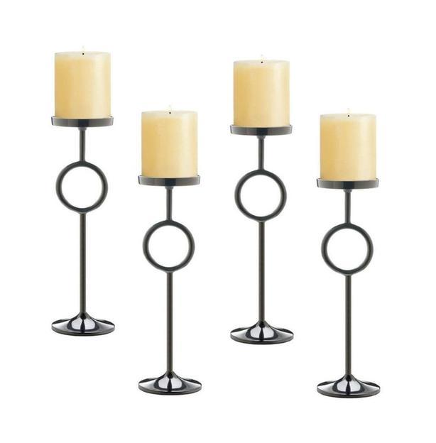 "18"" Black Metal Geometric Circle Pedestal Candlestick Candleholder Stand 4 Lot"