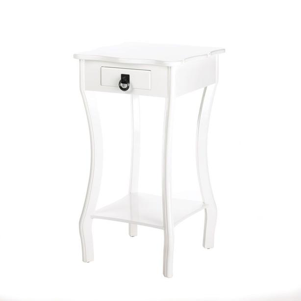 White Wood Accent Side End Table with Shelf Small Drawer & Scalloped Top NEW