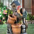 Country Farm Rooster Chicken Lawn & Yard Outdoor Electric Water Fountain NEW