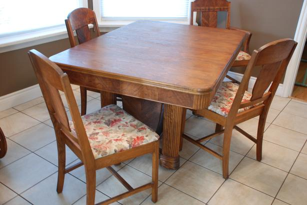 Art Deco Walnut Dining Table And 6 Chairs Oak Bay Victoria