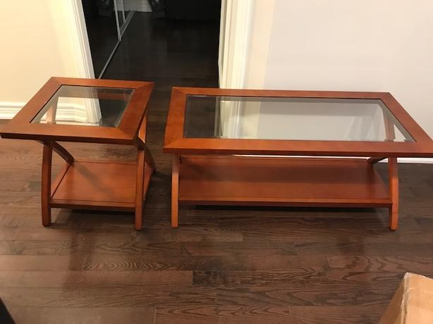 HomeTrends Glass Top Coffee Table and End Table for sale