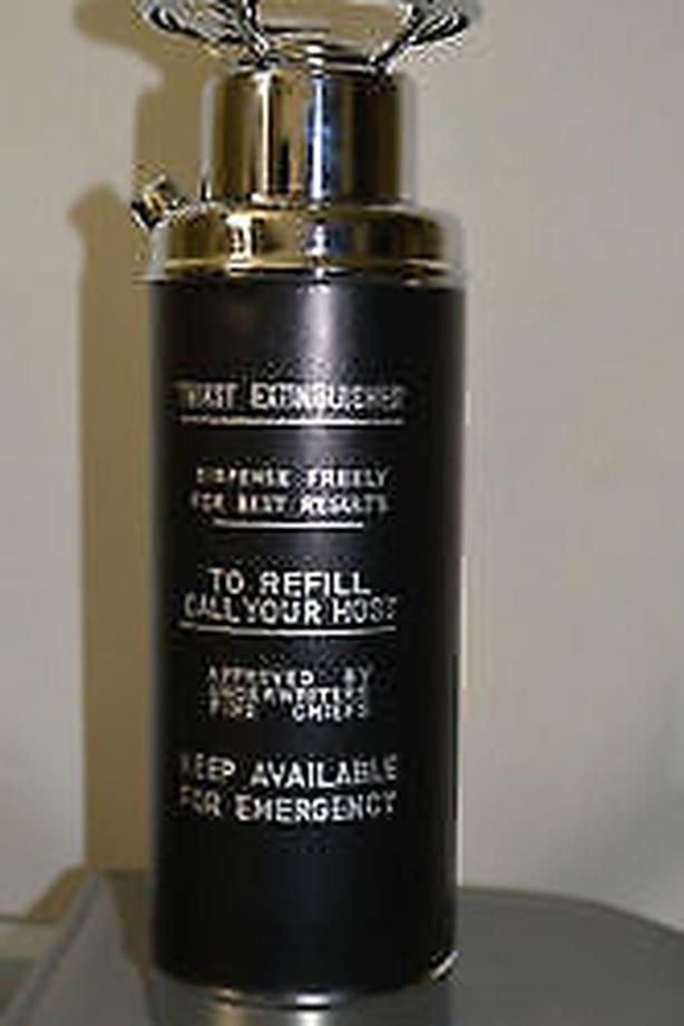 music box decanter bar fire extinguisher chrome.