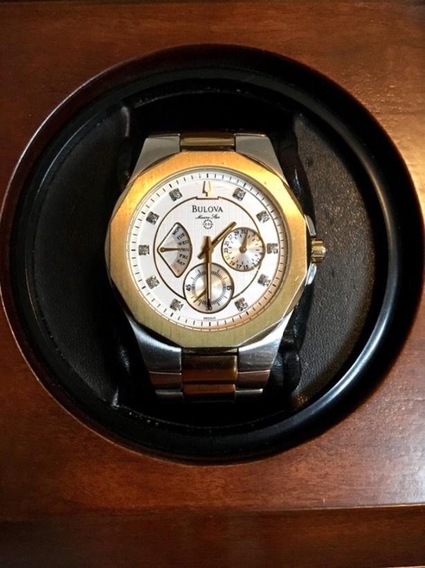 BULOVA Mens Gold and Diamond Watch