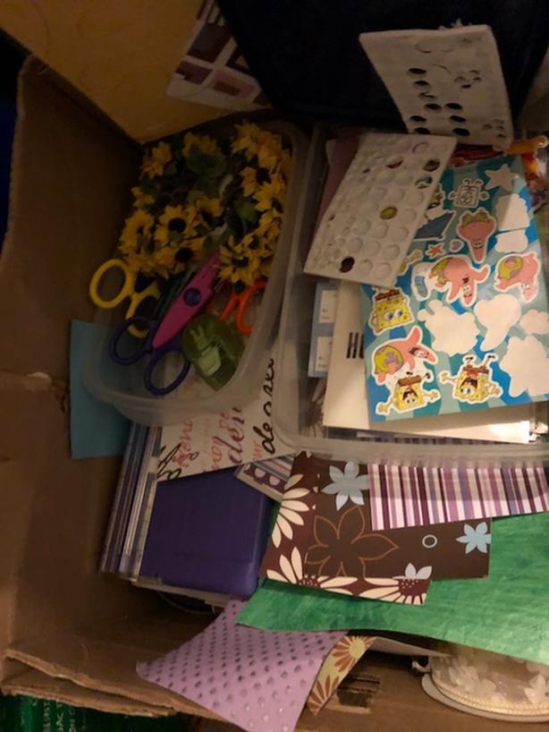 FREE: BOX OF SCRAPBOOK SUPPLIES
