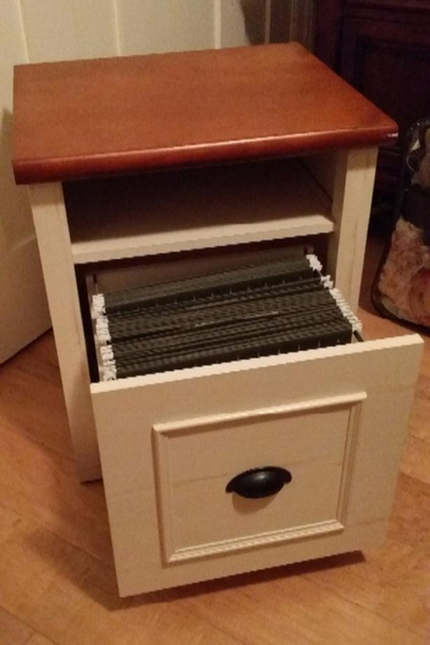 Rosewood and cream file drawer