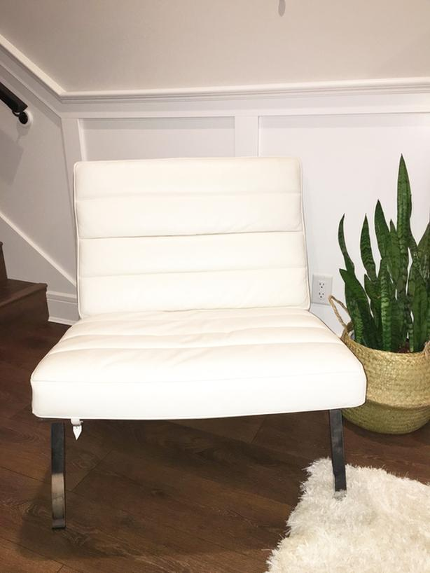 White Leather Accent Chairs (Price Each Chair)