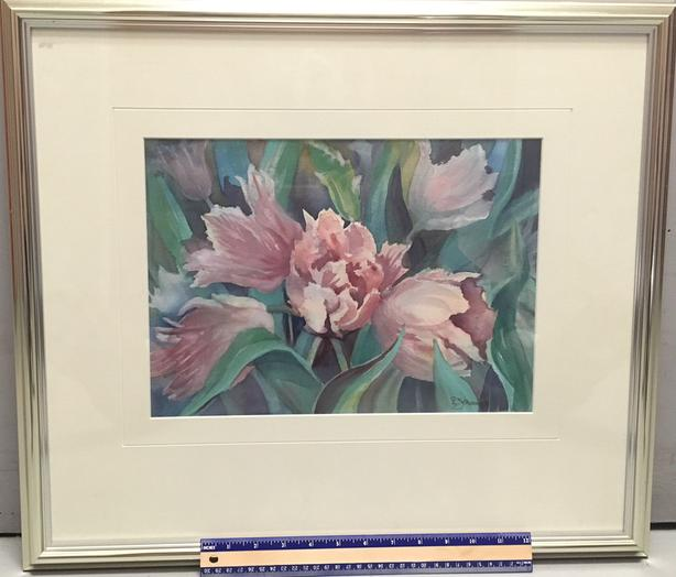 "Original Watercolor of ""Pink Tulips"" with Beautiful Chrome Finish Frame"