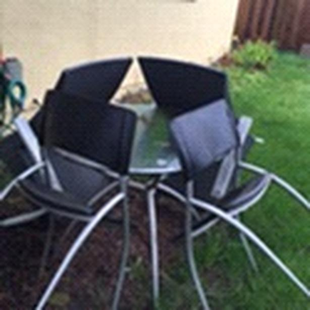 NEED GONE ASAP: glass table and patio outdoor chairs