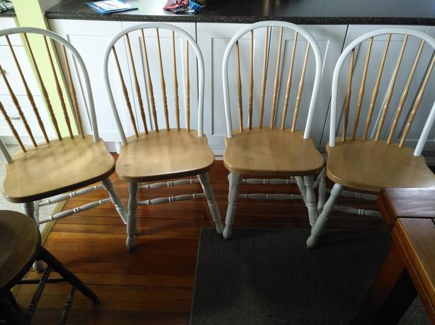 4 x Solid Wood Spindle back chairs