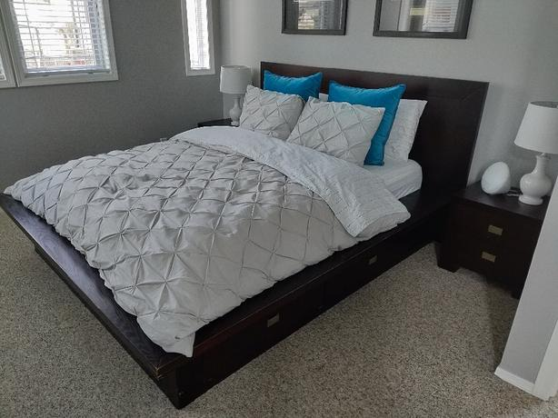 Platform bed frame with storage and nightstands