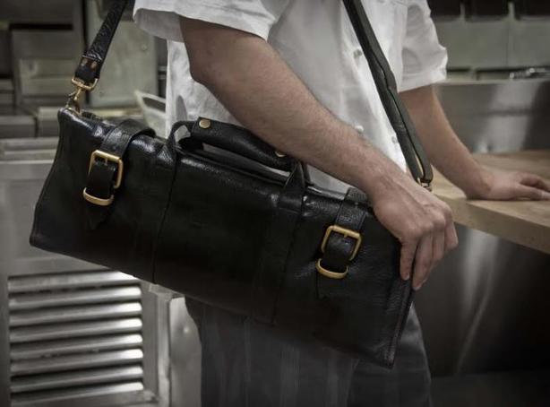 CHEF KNIFE BAG Boldric 17-Pocket Leather Knife Bag, Black