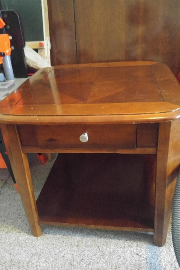 Solid wood end table with drawer and shelf