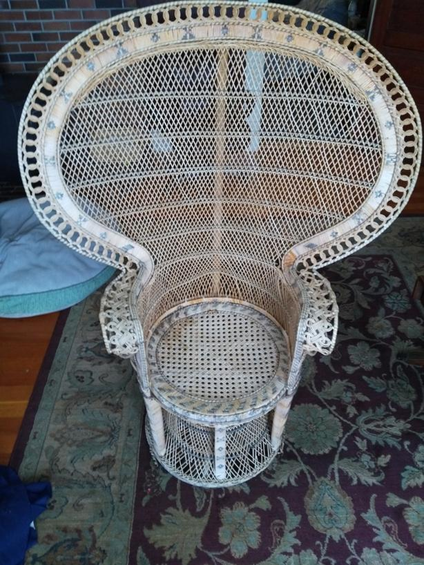 Vintage Wicker High Back Fan Peacock Rattan Chair