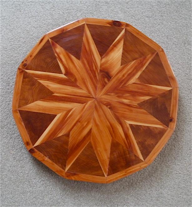 Vintage Handcrafted Inlaid Wood Doedcagon-Shaped Lazy Susan