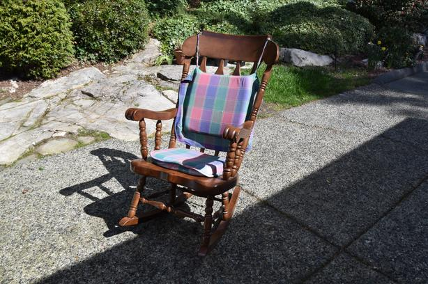 Classic Pine Rocking Chair And Antique Colonial Chair