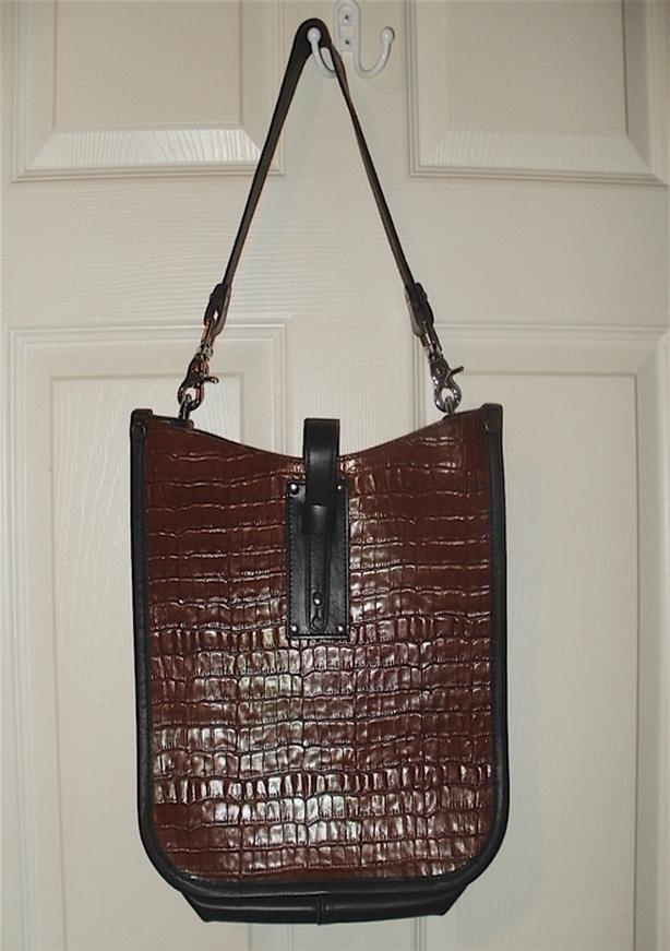'Bike' Embossed Faux Croc Messenger Bag
