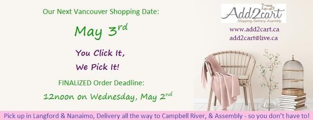 Add2cart.ca Comox Valley  We deliver IKEA    May 3rd