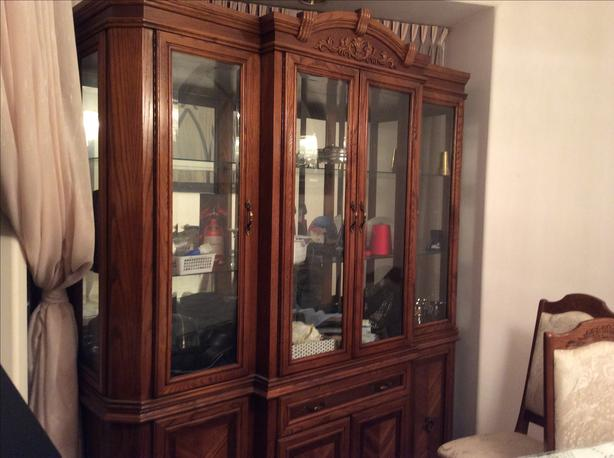 $1,100-Like NEW Authentic wood Dining Room Armoire Burnaby ...