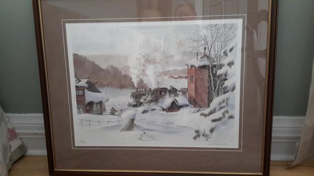 """Winter of 1947"" Wentworth Folkins Signed Custom Framed Print"