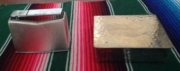 Silver Cigarette Lighter and Cigarette Box
