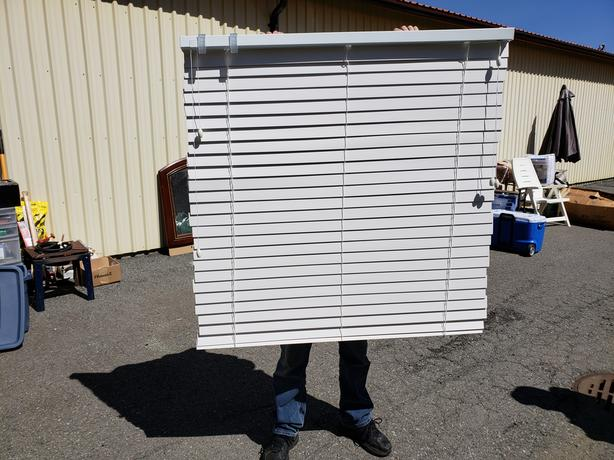 REDUCED!! Assorted Size White Wood Blinds