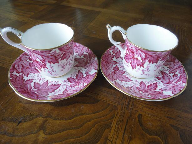 Pair Of Coalport Demitasse Cup & Saucer, Red Leaves Bone China, England