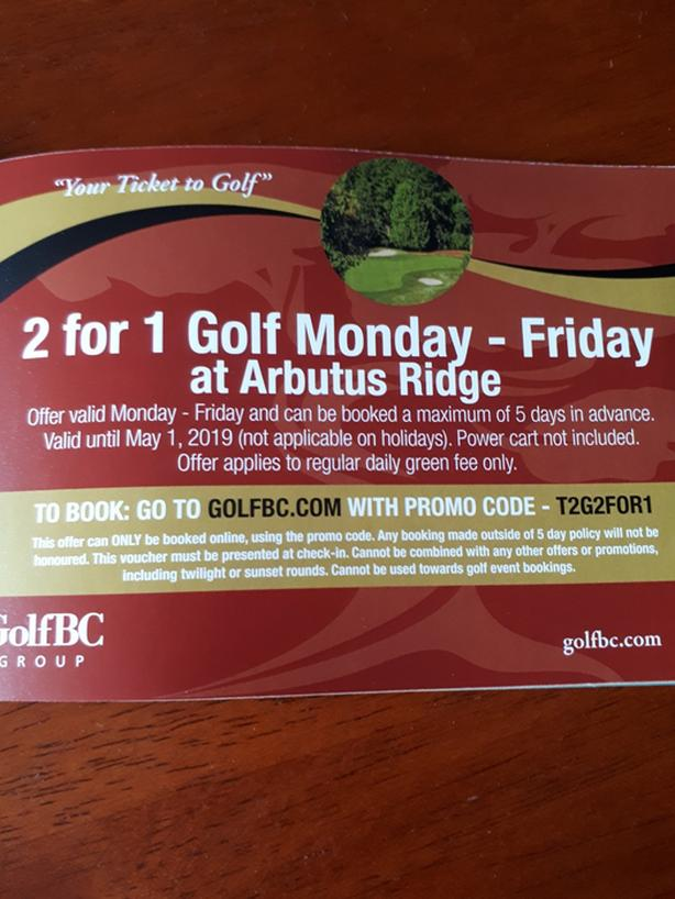 ARBUTUS RIDGE GOLF 2 FOR 1 COUPONS!!!