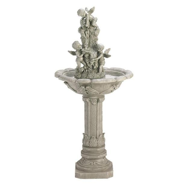 "Stone-Look Playful Cherubs Indoor Outdoor Water Fountain 42"" Tall"