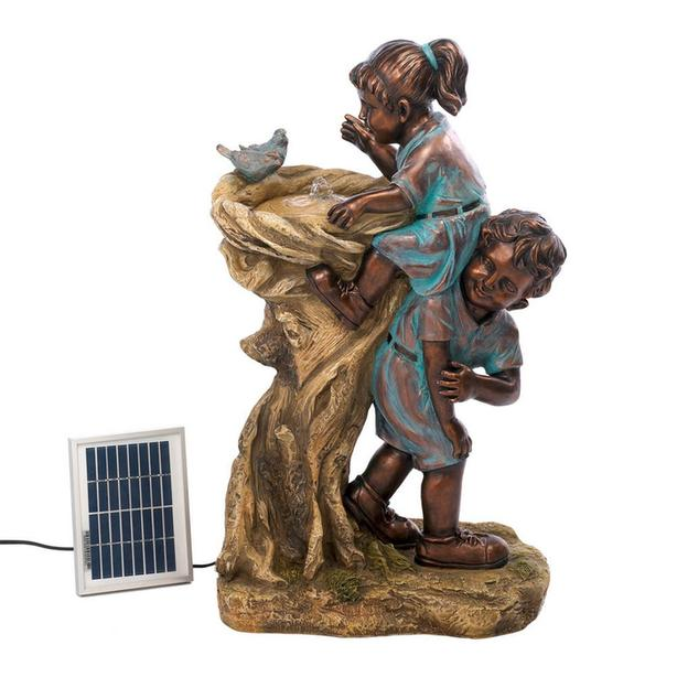 Cute Kids Girl & Boy Boost At Drinking Fountain Solar with Electric Adapter