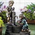 Cute Kids Electric Water Fountain Boy & Girl Washing the Dog at Well Pump NEW