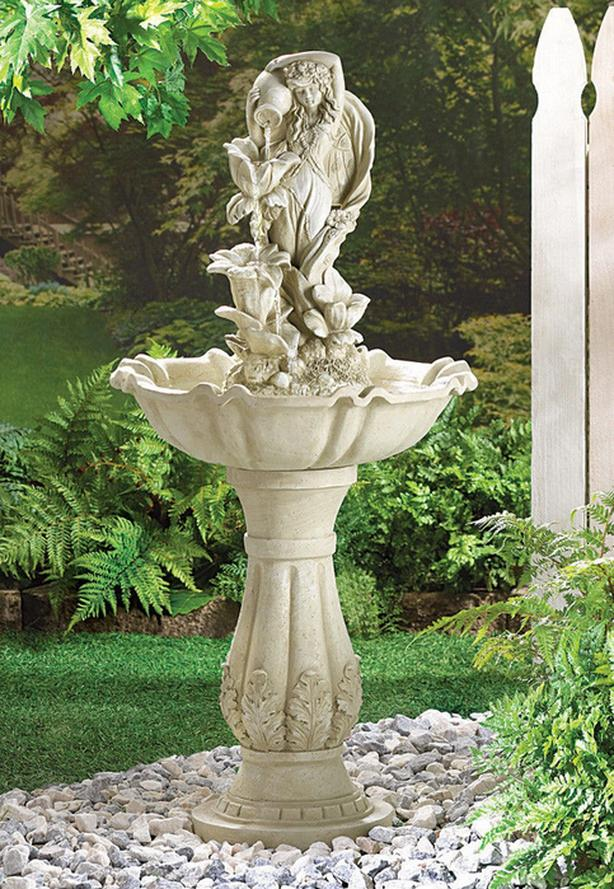 Faux Stone Fairy Maiden Water Fountain Brand New