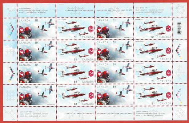 2006 Canada FULL PANE SNOWBIRDS postage stamps - MINT NEW COND
