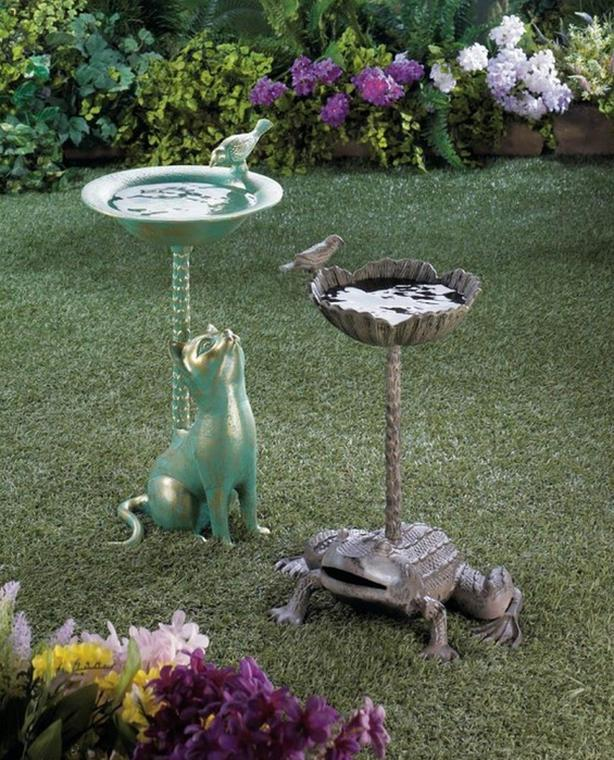Figural Metal Birdbath Cat Frog 3 Different Choice Brand New