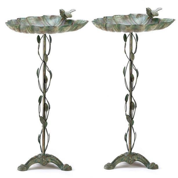 Metal Leaf-Shape Verdigris Birdbath with Vine Leaf & Bird Accent Set of 2 NEW