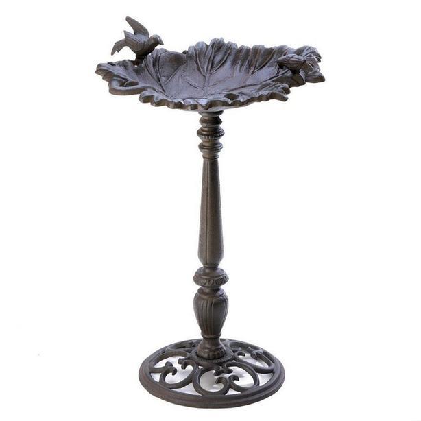 Cast Iron Birdbath with Scrolled Base Leaf Basin & Bird Ornament Accents NEW