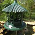 Freestanding Plastic Birdfeeder & Birdbath with Verdigris Finish 2PC Mixed NEW